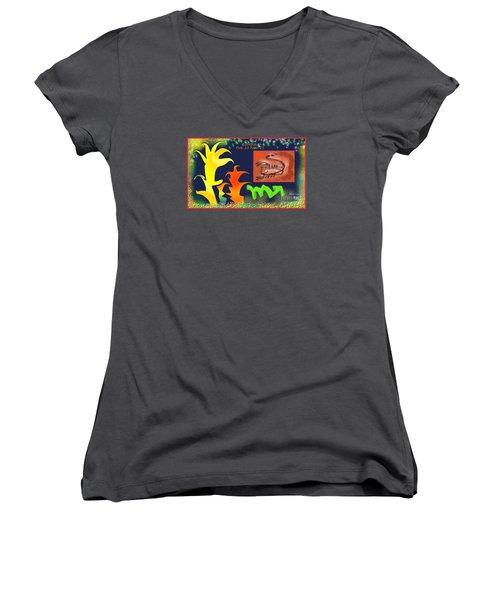 Women's V-Neck T-Shirt (Junior Cut) featuring the digital art Scorpio by The Art of Alice Terrill