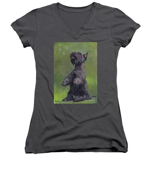 Scottie Likes Bubbles Women's V-Neck T-Shirt