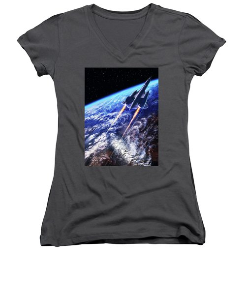 Scraping Outer Spheres Women's V-Neck T-Shirt (Junior Cut) by Dave Luebbert
