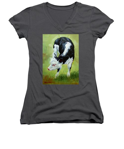 Women's V-Neck T-Shirt (Junior Cut) featuring the painting Scratching Calf by Margaret Stockdale