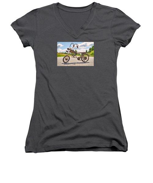 Scrawny Women's V-Neck T-Shirt (Junior Cut) by Tgchan