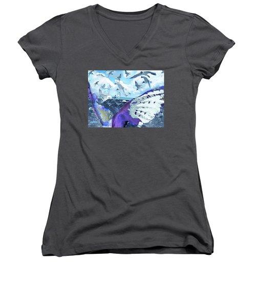Scream Of The Gulls Women's V-Neck T-Shirt (Junior Cut) by Seth Weaver