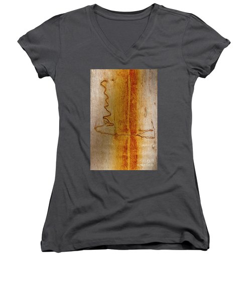 Women's V-Neck T-Shirt (Junior Cut) featuring the photograph Scribbly Gum Bark by Werner Padarin