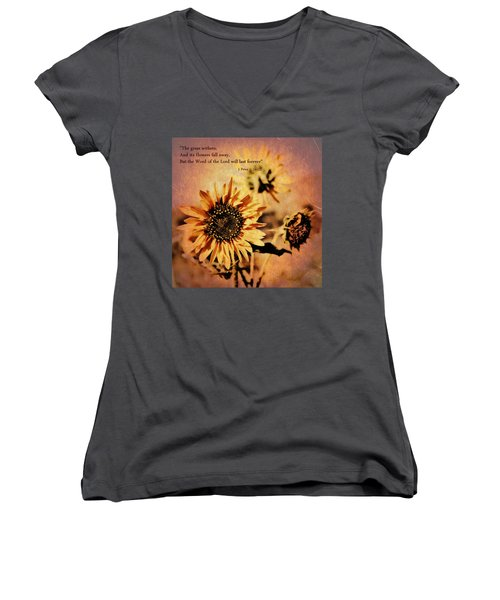 Scripture - 1 Peter One 24-25 Women's V-Neck T-Shirt (Junior Cut) by Glenn McCarthy Art and Photography
