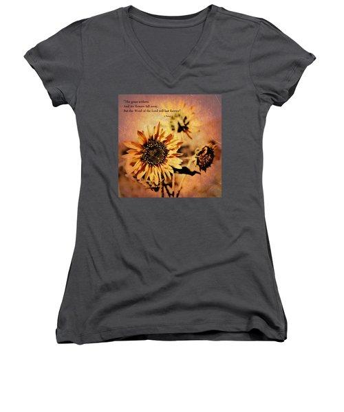 Scripture - 1 Peter One 24-25 Women's V-Neck T-Shirt
