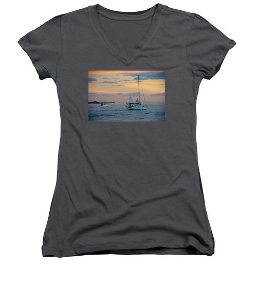 Sd Sunset 3 Women's V-Neck (Athletic Fit)