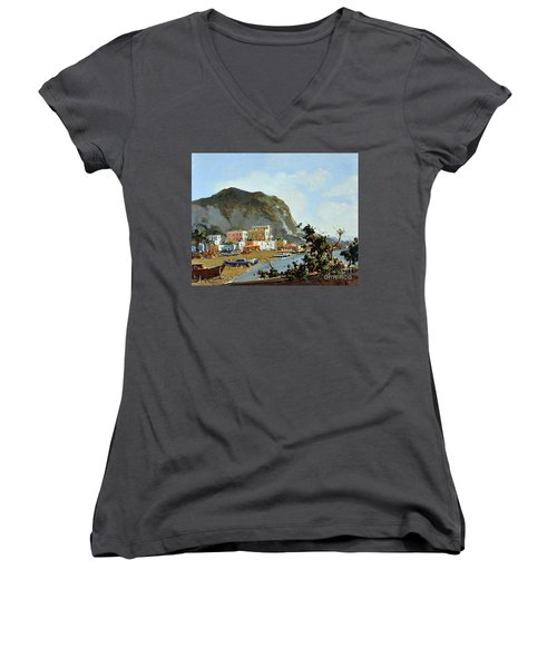 Sea And Mountain With Boats Women's V-Neck