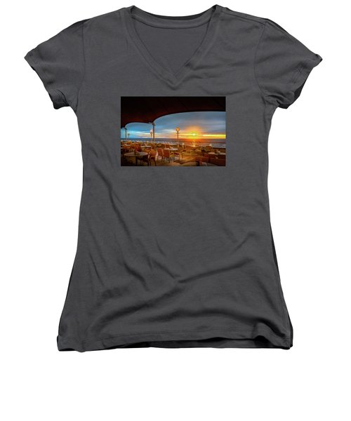 Women's V-Neck T-Shirt featuring the photograph Sea Cruise Sunrise by John Poon