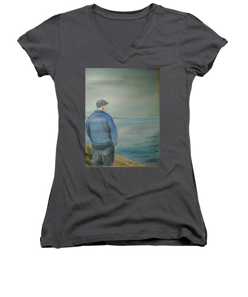 Women's V-Neck T-Shirt (Junior Cut) featuring the painting Sea Gaze by Anthony Ross