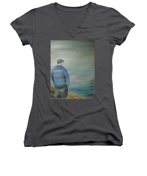 Sea Gaze Women's V-Neck T-Shirt (Junior Cut) by Anthony Ross