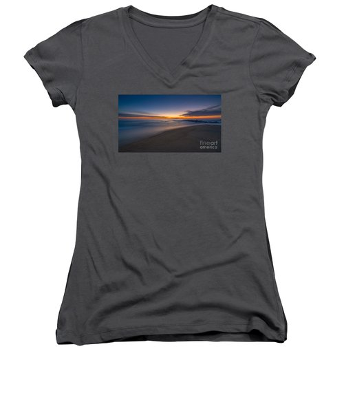 Sea Girt Sunrise New Jersey  Women's V-Neck T-Shirt (Junior Cut) by Michael Ver Sprill