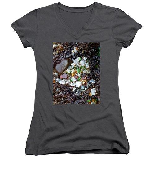 Sea Glass Nest Women's V-Neck T-Shirt (Junior Cut) by Amelia Racca