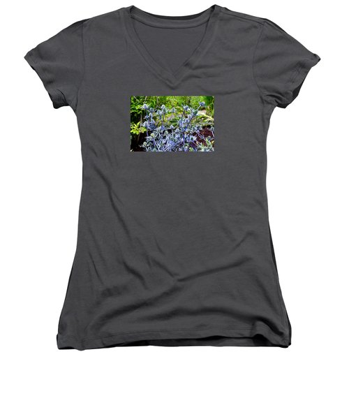 Women's V-Neck T-Shirt (Junior Cut) featuring the photograph Sea Holly Blooming by Tanya Searcy