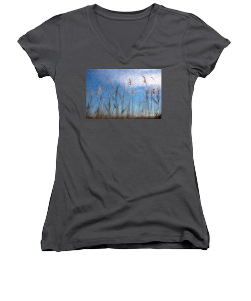 Sea Oats And Sky On Outer Banks Ap Women's V-Neck T-Shirt (Junior Cut) by Dan Carmichael
