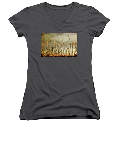 Sea Oats And Sky On Outer Banks Fx Women's V-Neck T-Shirt (Junior Cut) by Dan Carmichael