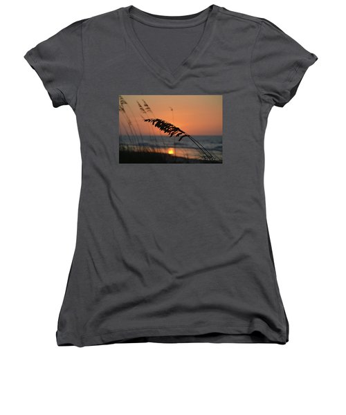 Sea Oats At Sunrise Women's V-Neck T-Shirt