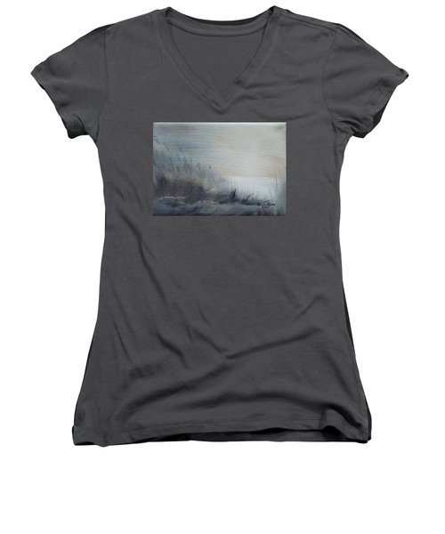 Women's V-Neck T-Shirt featuring the painting Sea Oats by Judith Rhue