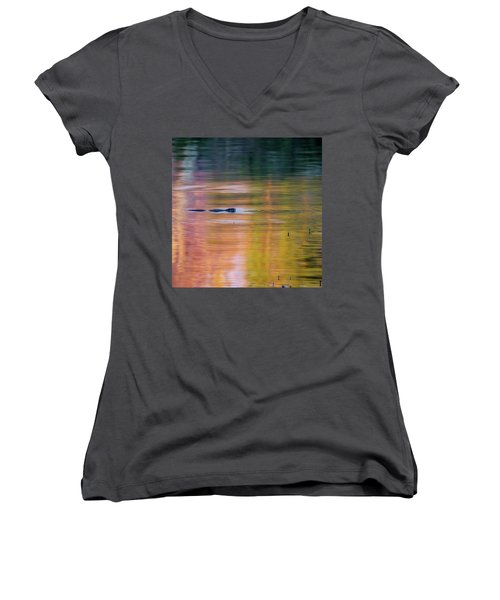 Women's V-Neck T-Shirt (Junior Cut) featuring the photograph Sea Of Color Square by Bill Wakeley