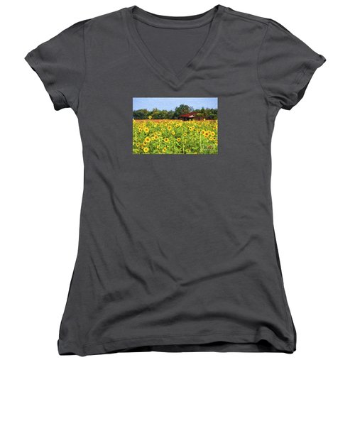 Sea Of Sunflowers Women's V-Neck T-Shirt (Junior Cut) by Bonnie Barry