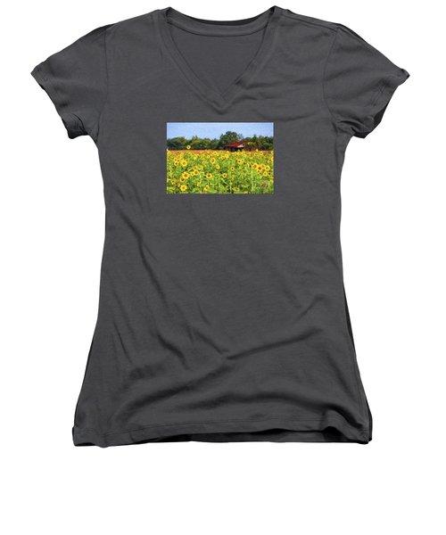 Sea Of Sunflowers Women's V-Neck T-Shirt