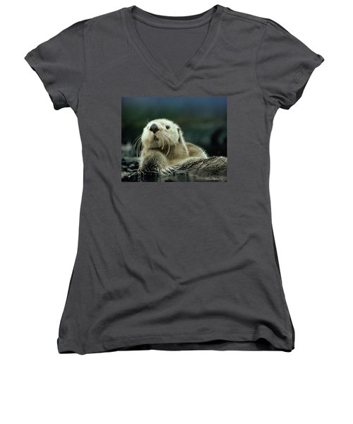 Sea Otter  Women's V-Neck T-Shirt (Junior Cut) by Tim Fitzharris