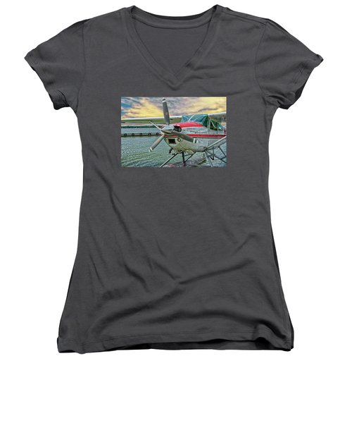 Sea Plane Women's V-Neck (Athletic Fit)