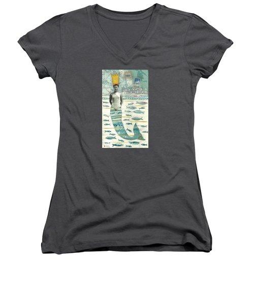 Sea Queen Women's V-Neck T-Shirt (Junior Cut) by Casey Rasmussen White