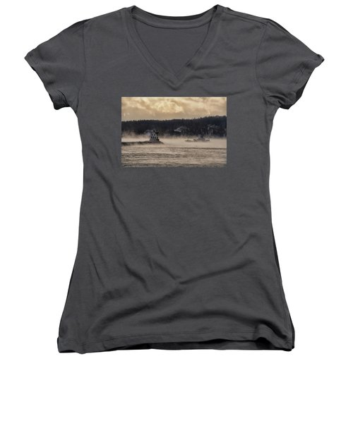 Sea Smoke At Rockland Breakwater Light Women's V-Neck (Athletic Fit)