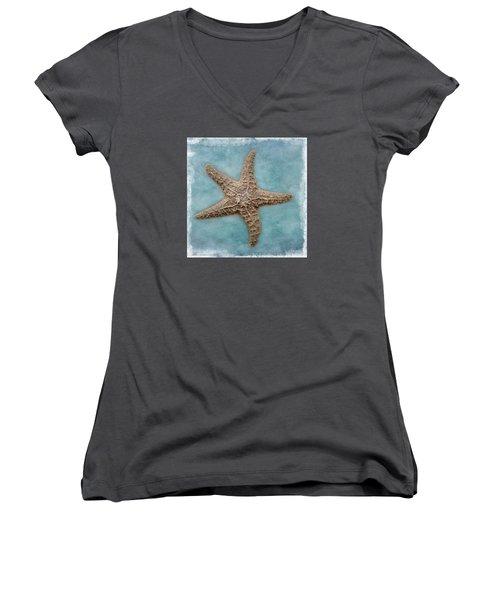 Sea Star Women's V-Neck T-Shirt (Junior Cut) by David and Carol Kelly