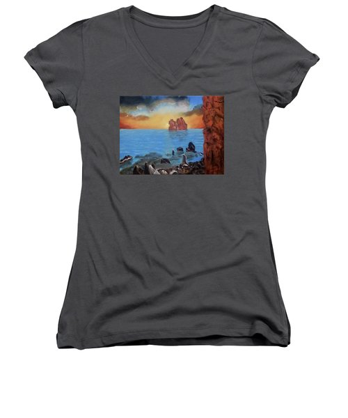 Sea Sunset Women's V-Neck (Athletic Fit)