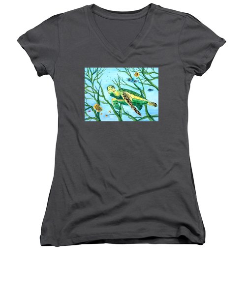 Sea Turtle Series #3 Women's V-Neck (Athletic Fit)