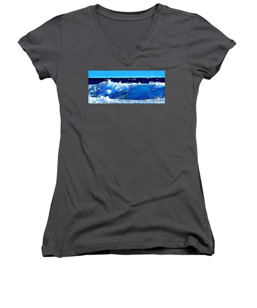 Women's V-Neck T-Shirt (Junior Cut) featuring the digital art Sea by Zedi