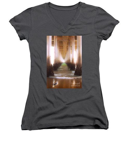 Women's V-Neck T-Shirt (Junior Cut) featuring the photograph Seagull Under The Pier by Jerry Cowart