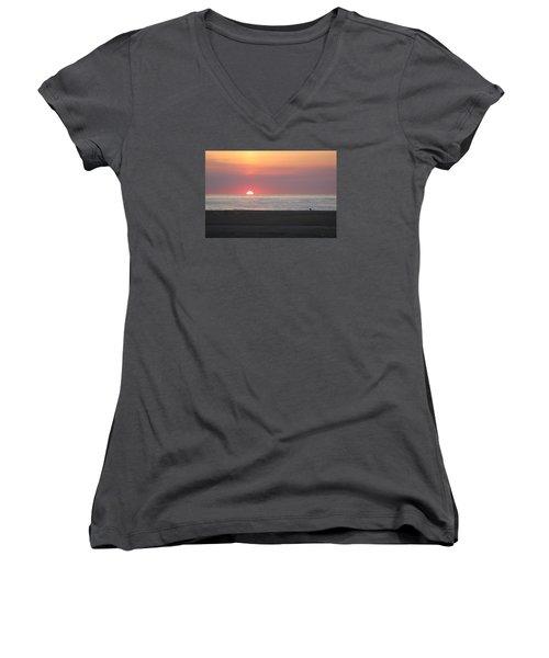 Seagull Watching Sunrise Women's V-Neck T-Shirt (Junior Cut) by Robert Banach