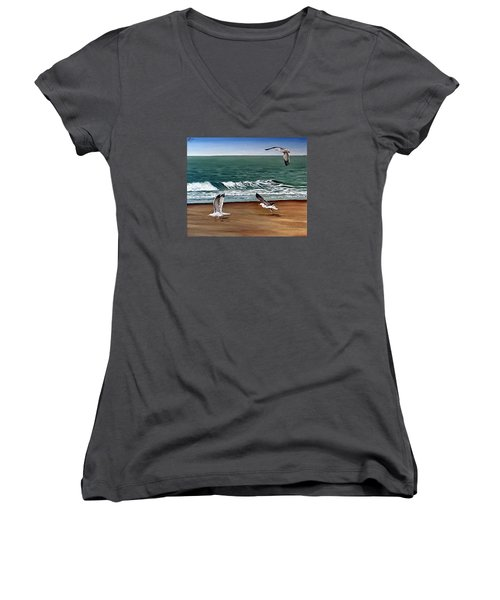 Women's V-Neck T-Shirt (Junior Cut) featuring the painting Seagulls 2 by Natalia Tejera
