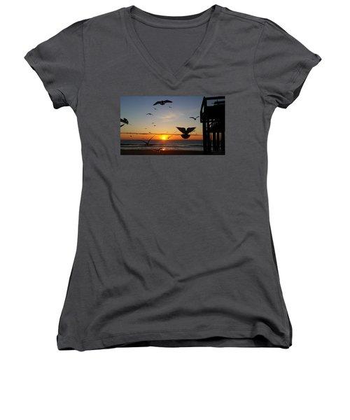 Seagulls At Sunrise Women's V-Neck T-Shirt (Junior Cut) by Robert Banach