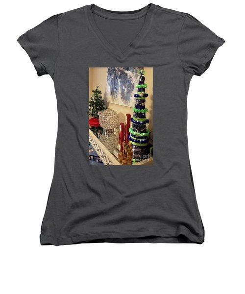 Seahawk Christmas Women's V-Neck T-Shirt (Junior Cut) by Judyann Matthews