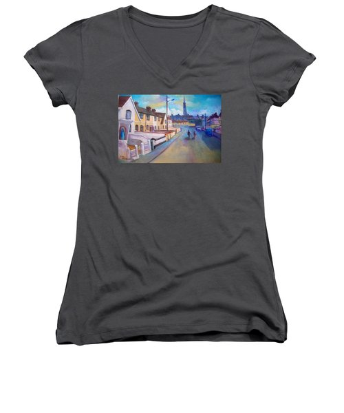 Sean Hueston Place Limerick Ireland Women's V-Neck T-Shirt (Junior Cut) by Paul Weerasekera