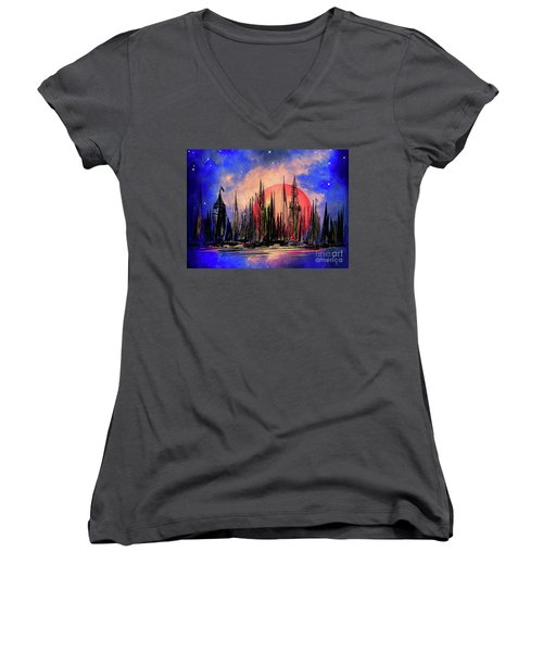 Women's V-Neck T-Shirt (Junior Cut) featuring the drawing Seaport by Andrzej Szczerski