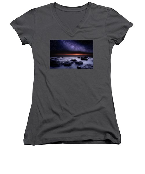 Women's V-Neck T-Shirt (Junior Cut) featuring the photograph Search Of Meaning by Jorge Maia