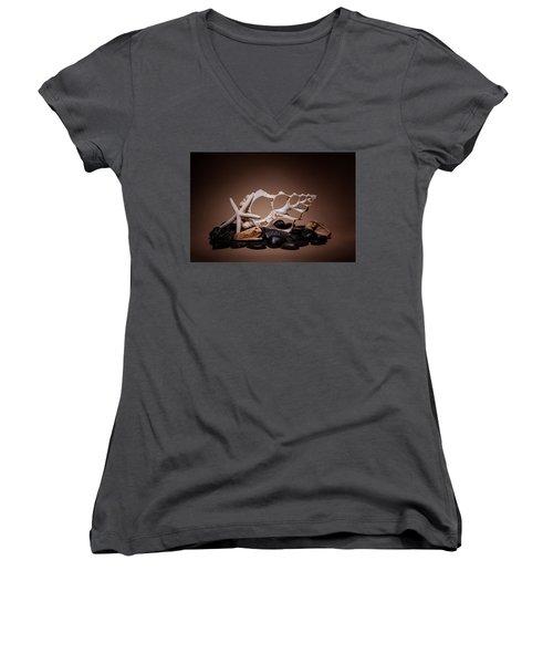 Seashells On The Rocks Women's V-Neck T-Shirt (Junior Cut) by Tom Mc Nemar