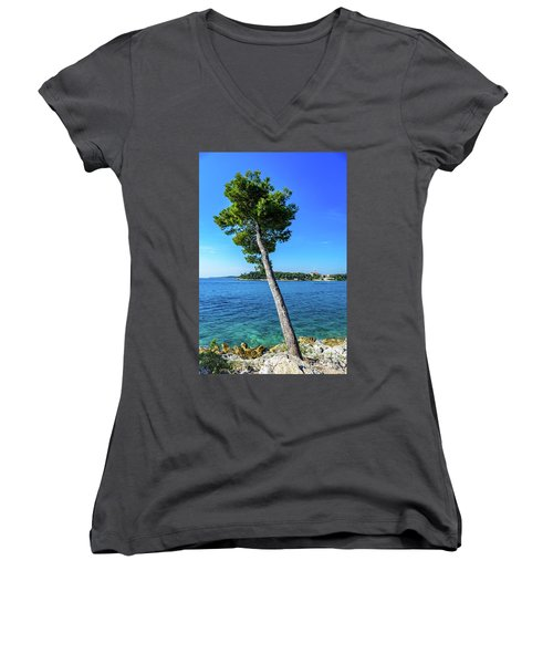 Seaside Leaning Tree In Rovinj, Croatia Women's V-Neck