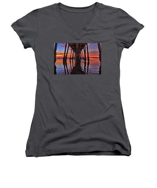 Seaside Reflections Under The Imperial Beach Pier Women's V-Neck