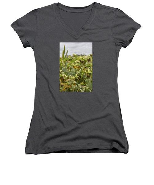 Season's End Women's V-Neck T-Shirt (Junior Cut) by Arlene Carmel