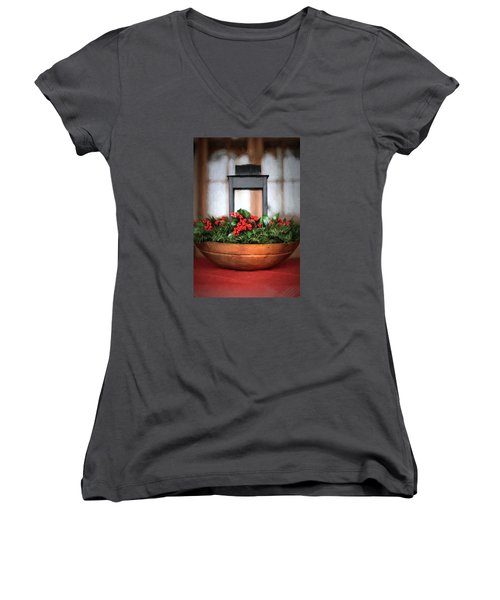 Women's V-Neck T-Shirt (Junior Cut) featuring the photograph Seasons Greetings Christmas Centerpiece by Shelley Neff