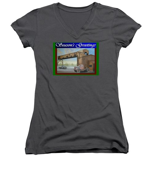 Women's V-Neck T-Shirt (Junior Cut) featuring the painting Season's Greetings Old Mine by Stuart Swartz