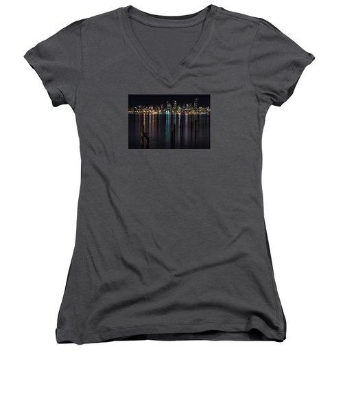 Seattle At Night Women's V-Neck T-Shirt (Junior Cut) by Ed Clark