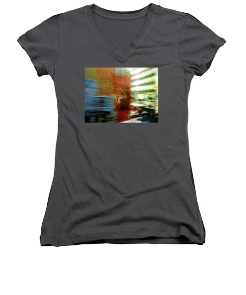 Women's V-Neck T-Shirt (Junior Cut) featuring the photograph Seattle By Train by Lori Seaman