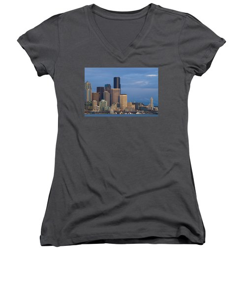 Women's V-Neck T-Shirt (Junior Cut) featuring the photograph Seattle by Evgeny Vasenev