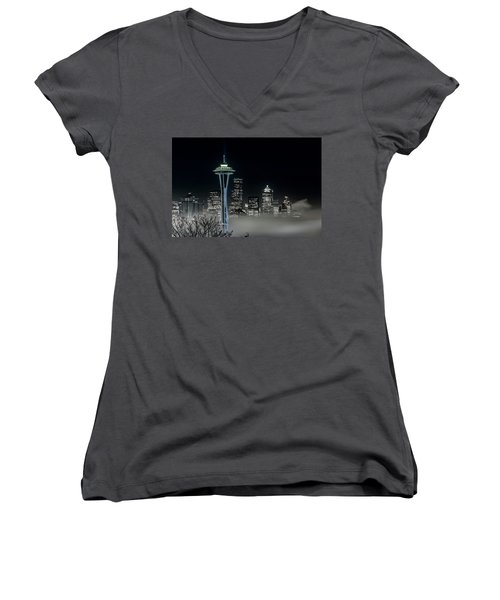 Seattle Foggy Night Lights In Bw Women's V-Neck (Athletic Fit)